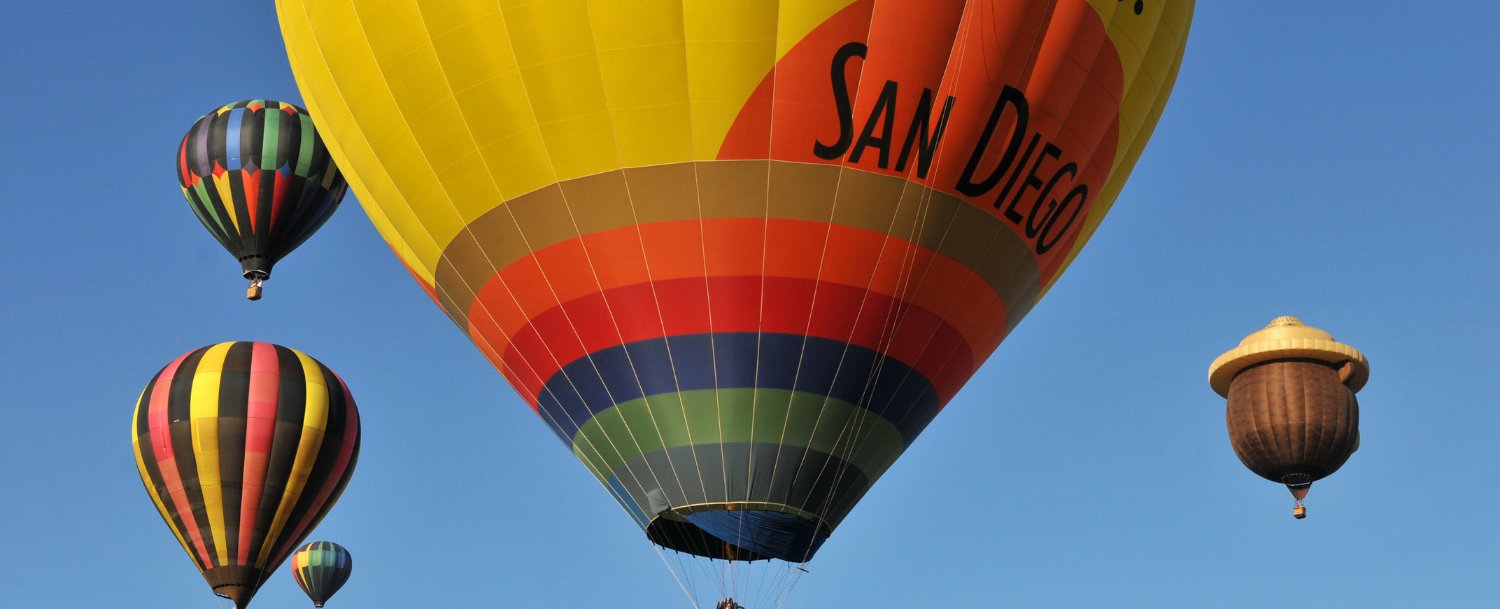 San Diego hot air balloons in flight