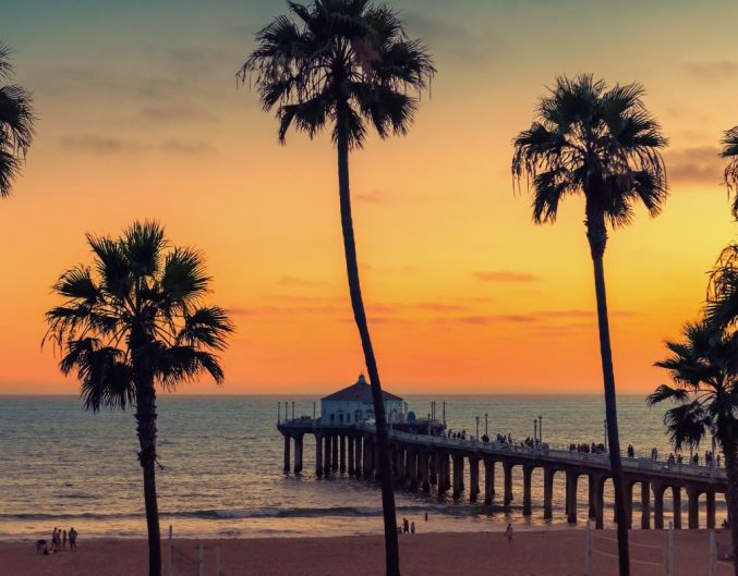 Palm trees in front of a sunset backdrop at the pier in San Diego