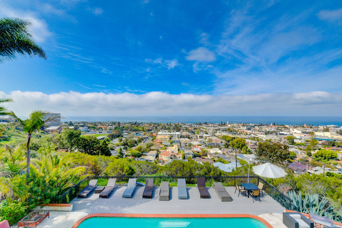 marvelous views over La Jolla villa balcony